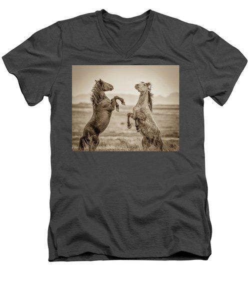 Fighting Stallions 2 Men's V-Neck T-Shirt