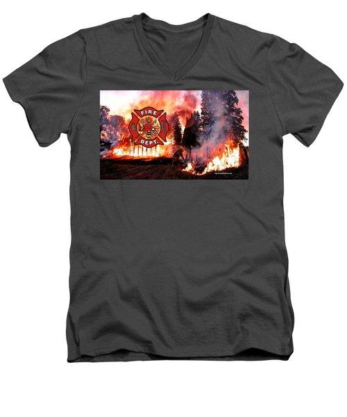 Fire Fighting 3 Men's V-Neck T-Shirt