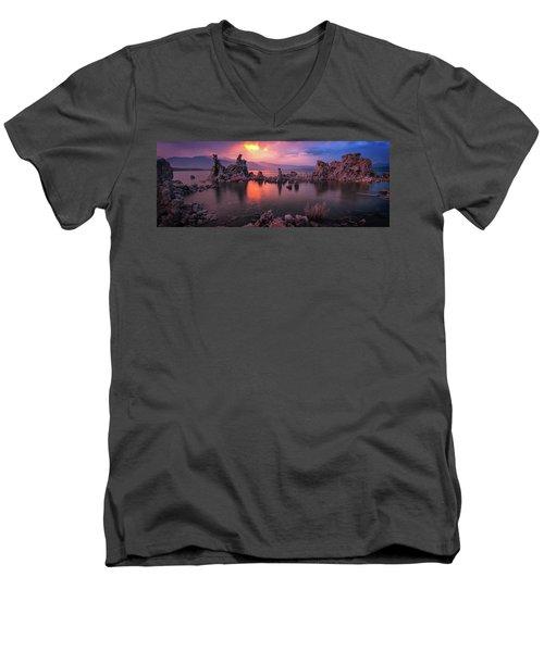 Men's V-Neck T-Shirt featuring the photograph Fireball by Edgars Erglis