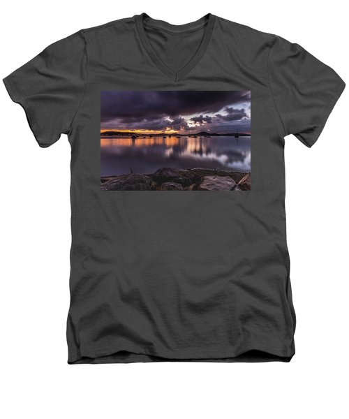 First Light With Heavy Rain Clouds On The Bay Men's V-Neck T-Shirt