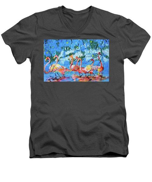 Flamingo Pat Party Men's V-Neck T-Shirt