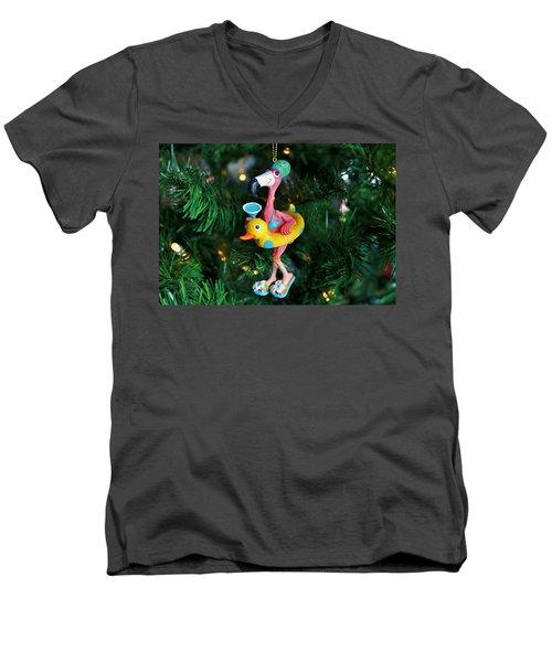 Flamingo Swimmer Men's V-Neck T-Shirt