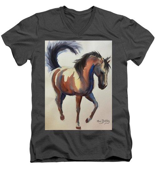 Flashing Bay Horse Men's V-Neck T-Shirt