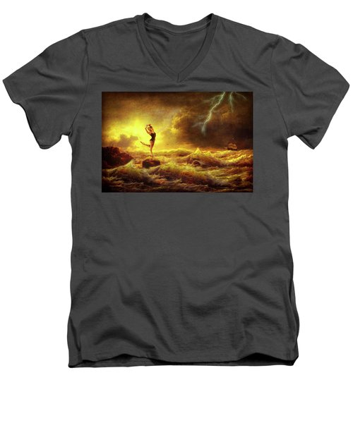 Men's V-Neck T-Shirt featuring the digital art Flirting With Disaster by Mark Allen