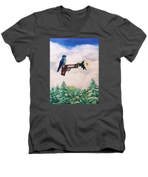 Flower In A Gun- Bluebird Of Happiness Men's V-Neck T-Shirt