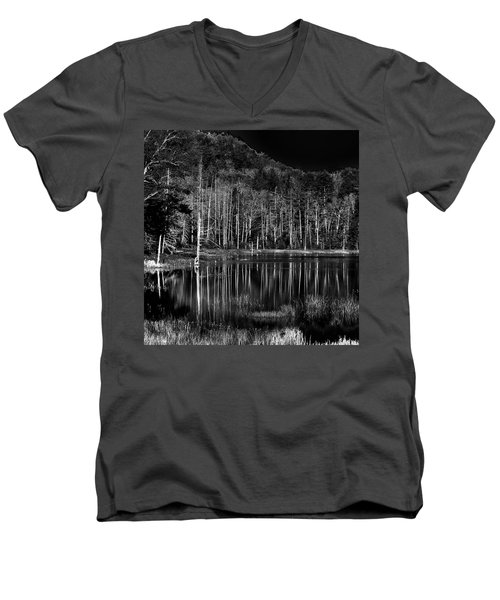 Men's V-Neck T-Shirt featuring the photograph Fly Pond Reflection by David Patterson