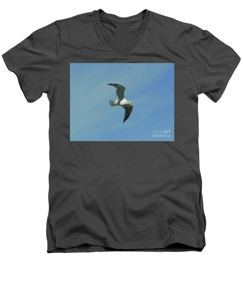 Men's V-Neck T-Shirt featuring the photograph Flying Seagull by Rockin Docks