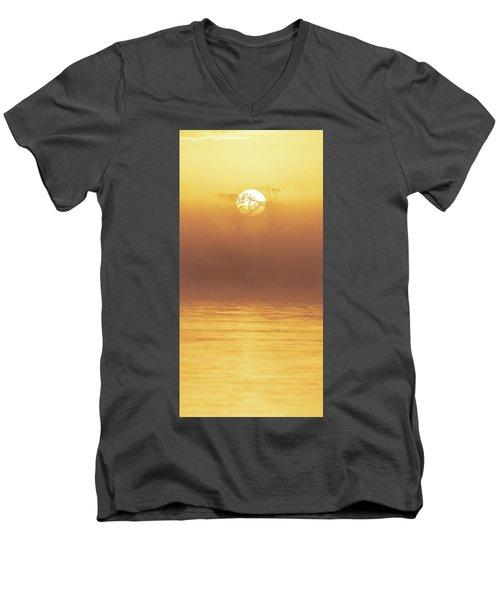 Foggy Wetlands Sunrise Men's V-Neck T-Shirt