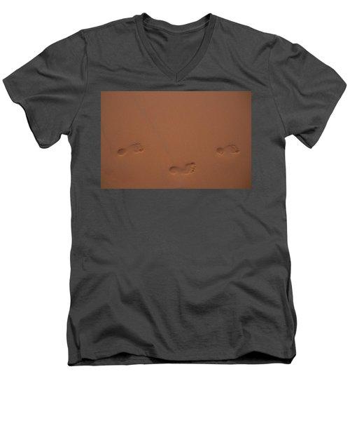 Foot Prints In Sand Men's V-Neck T-Shirt