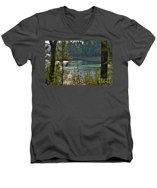 Forest Lake In Amendoa Men's V-Neck T-Shirt