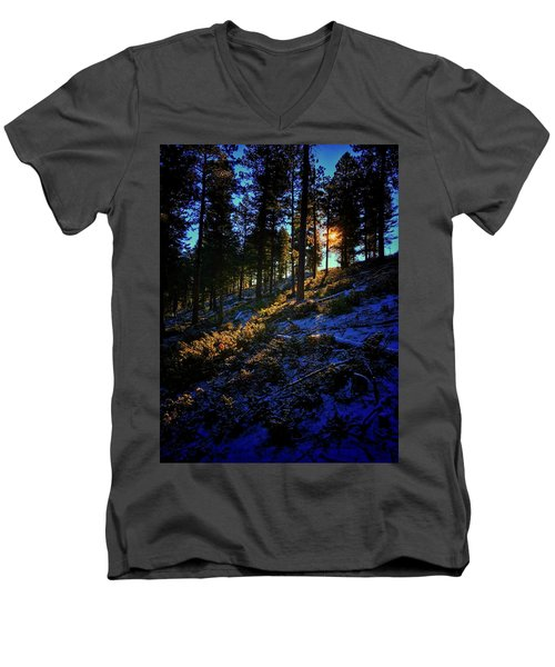 Men's V-Neck T-Shirt featuring the photograph Forest Sunrise by Dan Miller