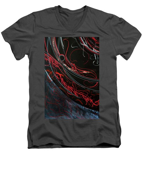 Formation. Calligraphic Abstract Men's V-Neck T-Shirt