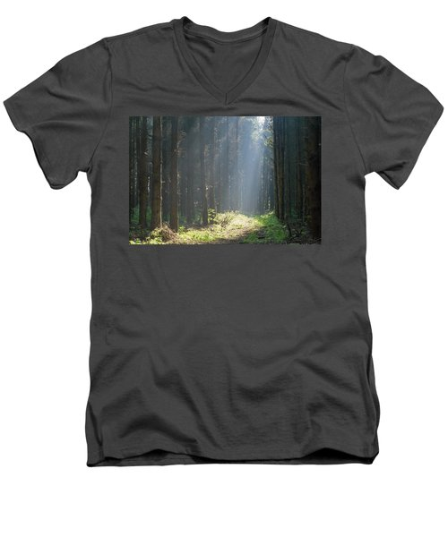 Men's V-Neck T-Shirt featuring the photograph Forrest And Sun by Anjo Ten Kate