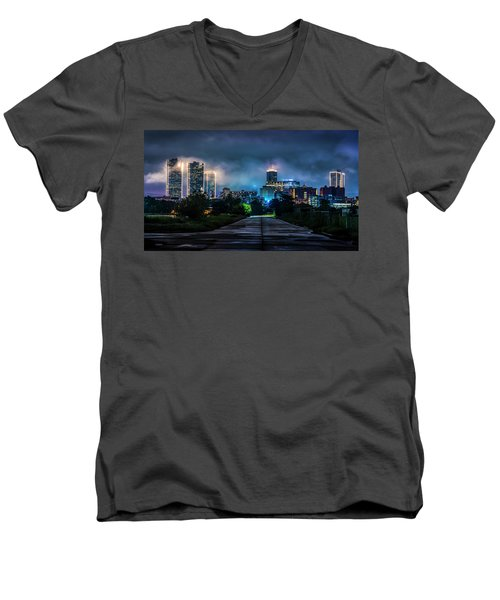 Men's V-Neck T-Shirt featuring the photograph Fort Worth Lights by David Morefield