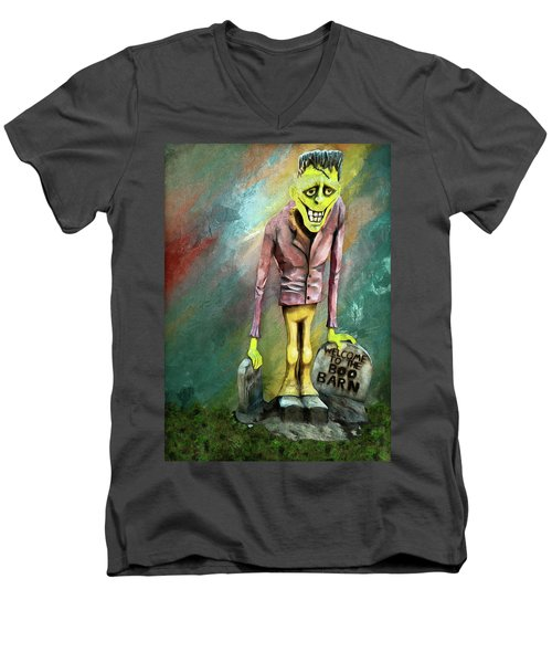 Frankie At The Boo Barn Men's V-Neck T-Shirt