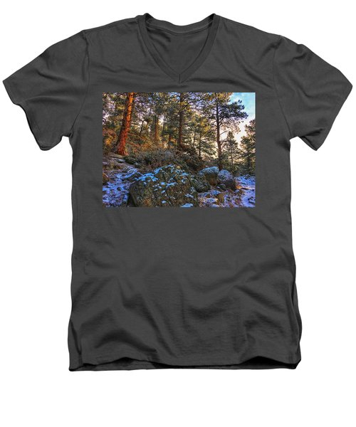 Men's V-Neck T-Shirt featuring the photograph Fresh Snow On Fillius Ridge by Dan Miller