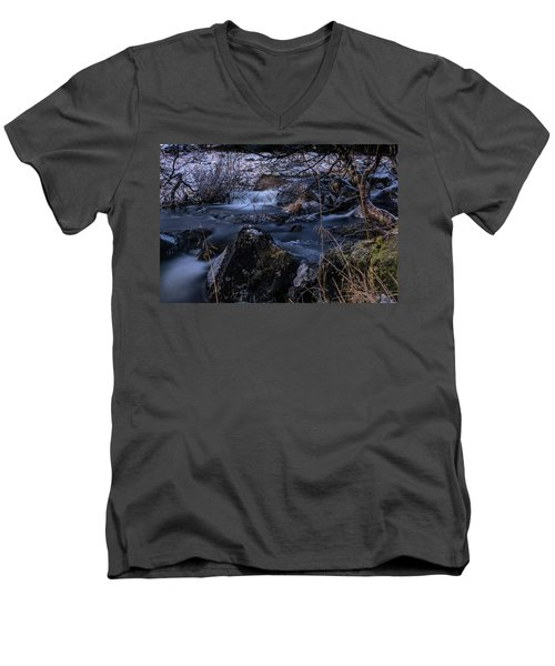 Frozen River And Winter In Forest. Long Exposure With Nd Filter Men's V-Neck T-Shirt