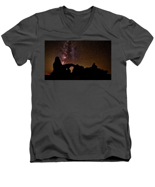 Men's V-Neck T-Shirt featuring the photograph Galactic Turret Arch by Andy Crawford