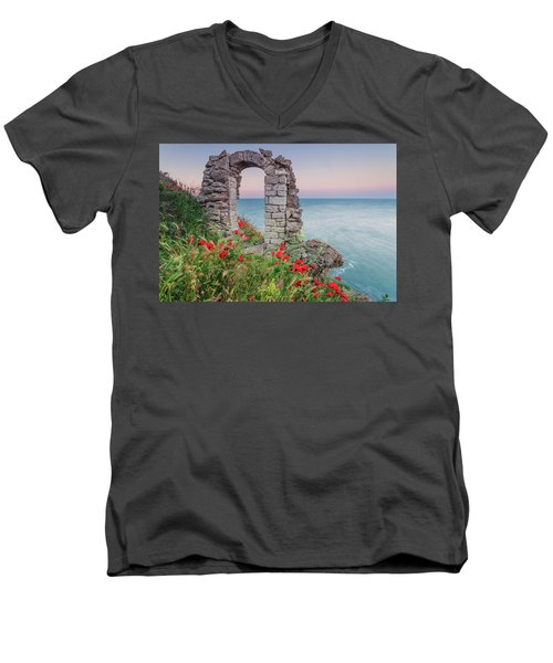 Gate In The Poppies Men's V-Neck T-Shirt