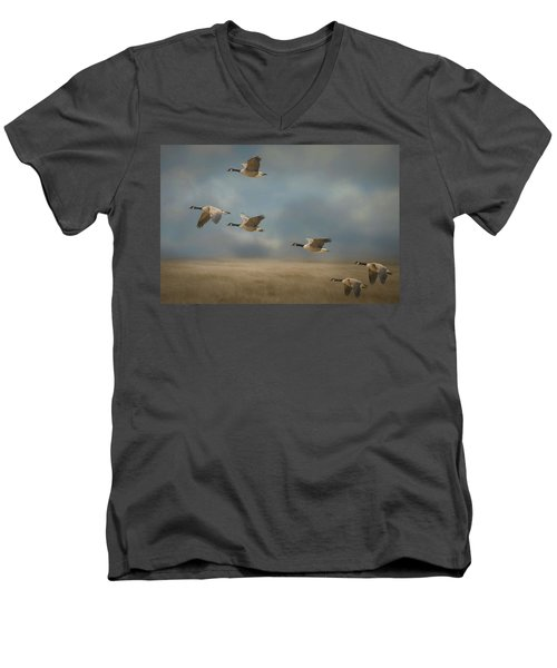 Geese, Coming In For A Landing Men's V-Neck T-Shirt