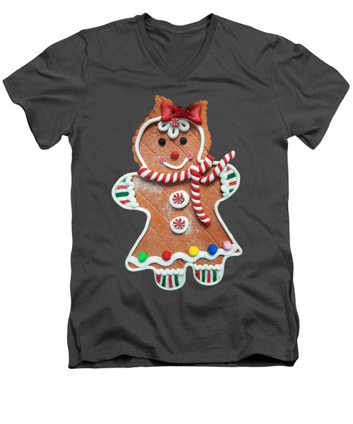 Gingerbread Cookie Girl Men's V-Neck T-Shirt