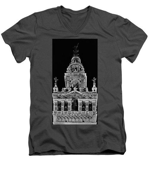 Giralda Tower In Monochrome. Seville Men's V-Neck T-Shirt