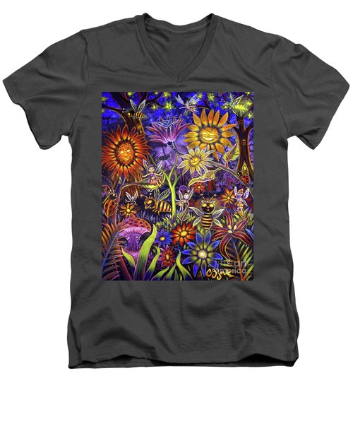 Glowing Fairy Forest Men's V-Neck T-Shirt
