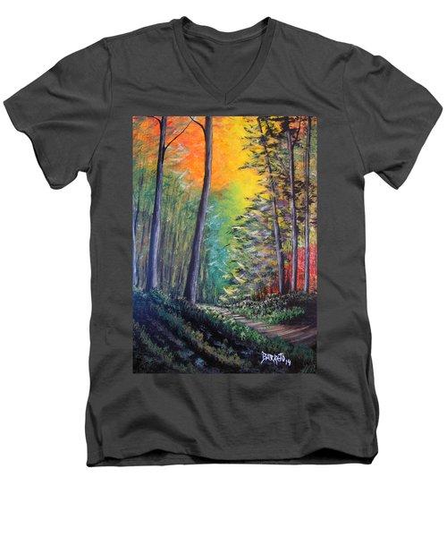 Glowing Forrest Men's V-Neck T-Shirt