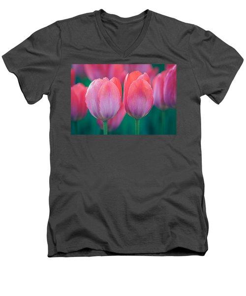 Glowing Pink Tulips Men's V-Neck T-Shirt