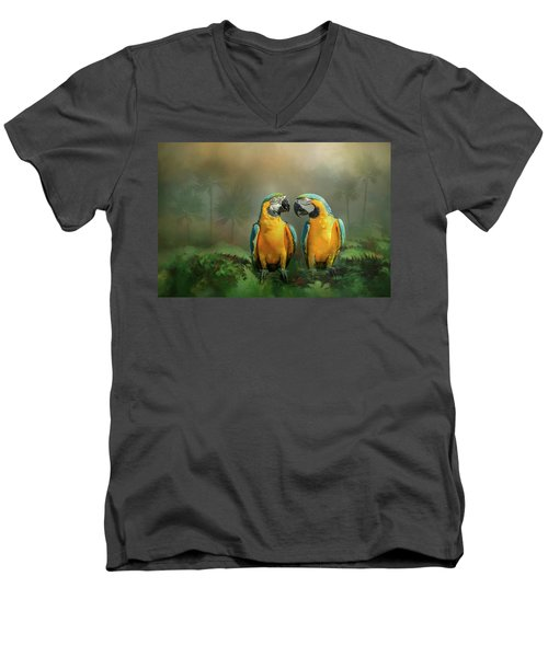 Gold And Blue Macaw Pair Men's V-Neck T-Shirt