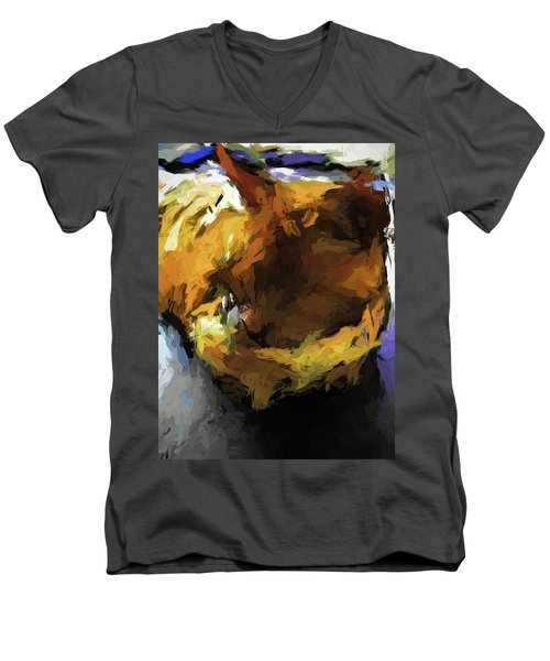 Gold Cat And The Shadow Men's V-Neck T-Shirt