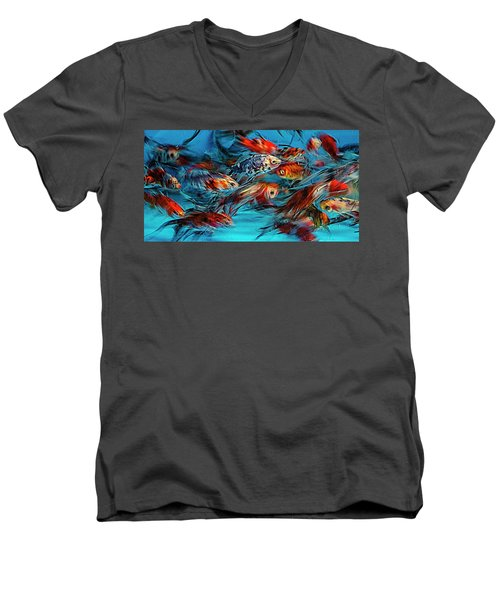 Gold Fish Abstract Men's V-Neck T-Shirt