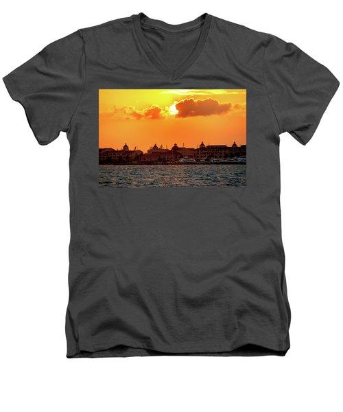 Golden Sky In Cancun Men's V-Neck T-Shirt