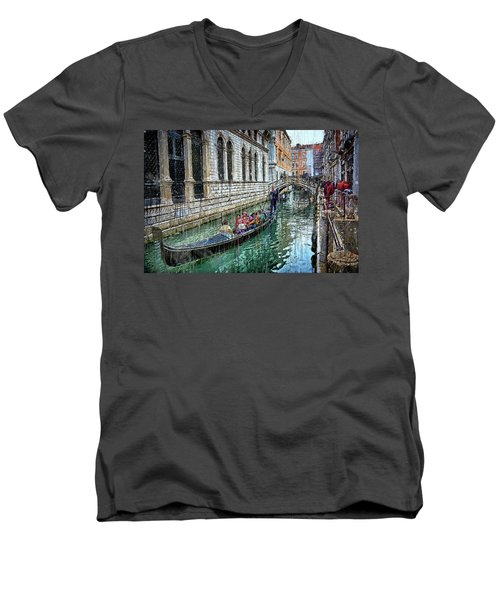 Men's V-Neck T-Shirt featuring the digital art Gondola Ride In Venice by Eduardo Jose Accorinti