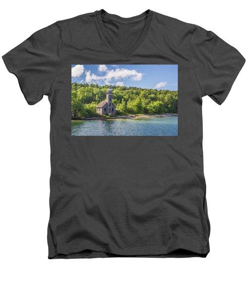 Grand Island East Channel Lighthouse Men's V-Neck T-Shirt