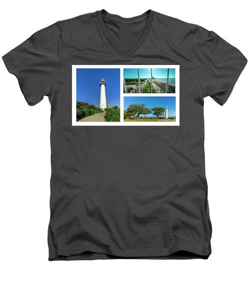 Grand Old Lighthouse Biloxi Ms Collage A1d Men's V-Neck T-Shirt