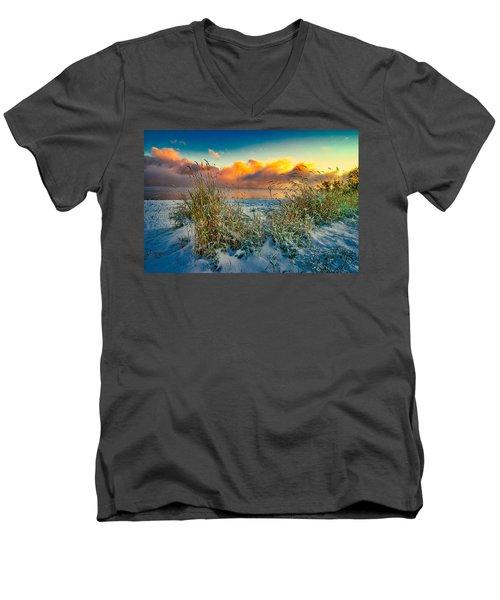 Grass And Snow Sunrise Men's V-Neck T-Shirt