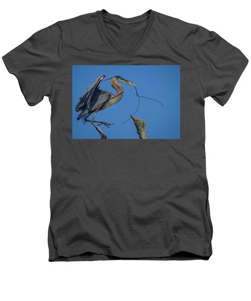 Great Blue Heron 4034 Men's V-Neck T-Shirt