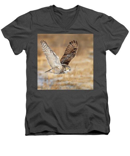 Great Horned Owl In Flight Men's V-Neck T-Shirt
