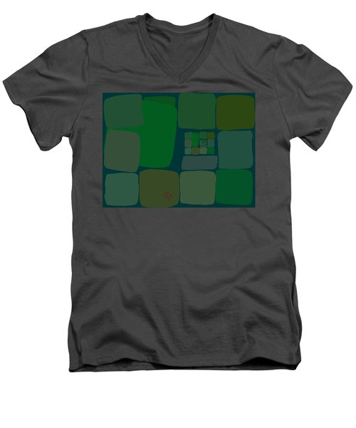 Men's V-Neck T-Shirt featuring the digital art Green by Attila Meszlenyi