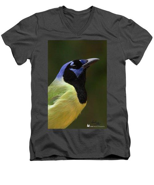 Green Jay Portrait Men's V-Neck T-Shirt