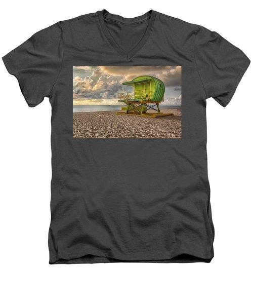 Green Lifeguard Stand Men's V-Neck T-Shirt