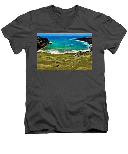 Green Sand Beach Men's V-Neck T-Shirt