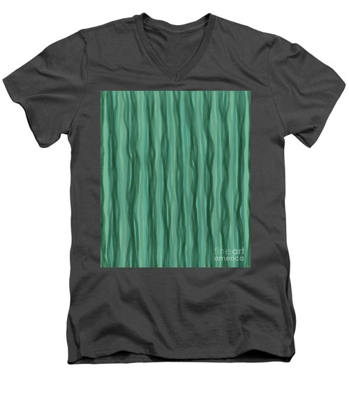 Green Stripes Men's V-Neck T-Shirt