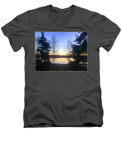 Greenlake Dawn Evergreens Men's V-Neck T-Shirt