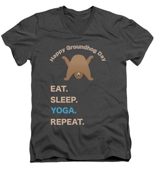 Groundhog Day Eat Sleep Yoga Repeat Men's V-Neck T-Shirt