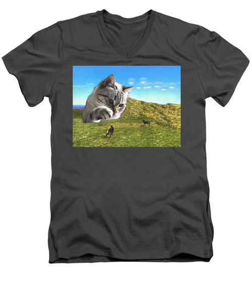 Gulliver's Cat Meets Abbie's Dogs  Men's V-Neck T-Shirt