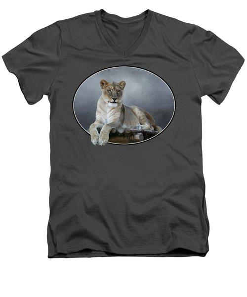 Happy Lioness Men's V-Neck T-Shirt