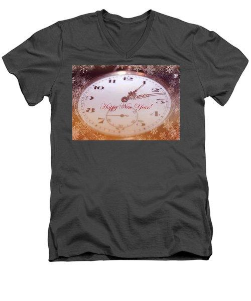 Happy New Year With Decorative And Nostalgic Theme. Men's V-Neck T-Shirt