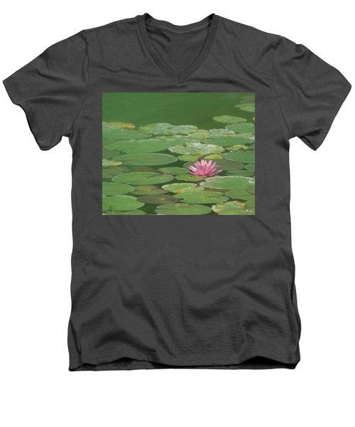 Harmonious Pink Waterlily Men's V-Neck T-Shirt